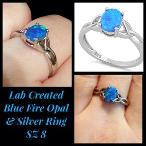 Lab Created Blue Fire Opal & Silver Ring SZ 8 NEW!
